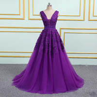 2019 Sexy Purple Appliqued Cheap Long Prom Dresses V Neck Sleeveless Floor length Elegant Formal Party Prom Ball Gown