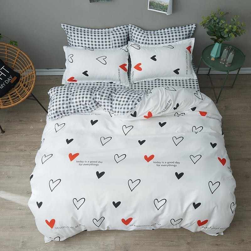 Bed Sheet Bedding Sets Cherry Printing Duvet Cover Pillowcase Gift For Lovely Girls Bed Linings In King Size Soft Pale Bed Set