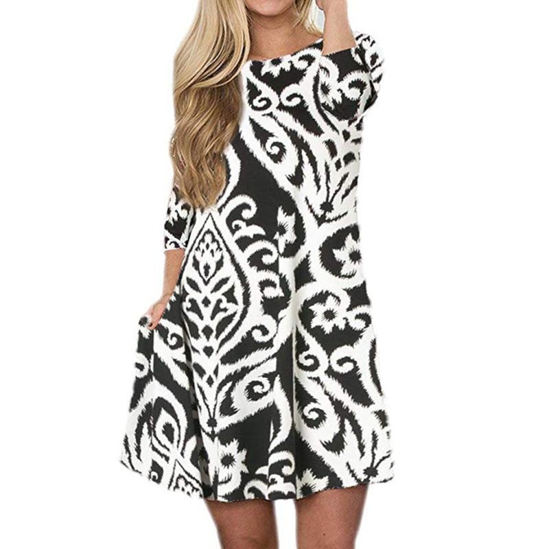 New Printing Women Casual Summer Ethnic Boho Beach Dress Elegant Vintage Pocket Plus Size Big Pendulum Ladies Dresses