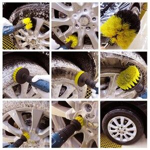 Image 5 - 5 Pcs רכב פירוט ניילון מברשת סט לרכב גלגל/מנוע/בית/אמבטיה/אריחי רצפה אוטומטי פירוט מברשות ערכת עם 2 חשמלי טחינת דיסק