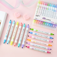 SIXONE 12 Parts / Set Nice Double Head Pen Highlighters Fluorescent Mildliner Color Marker Pen School Supplies Kawaii