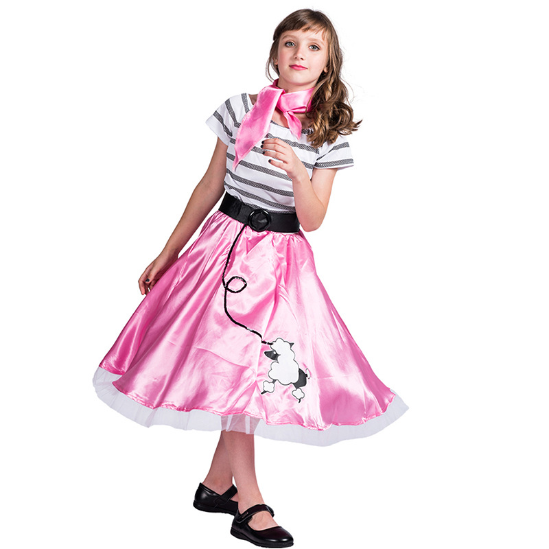 Objective Kids Stage Drama Costume Girls Poodle Pink Princess Skirt Girl Vip Dog Dress Acting Sets For Role Playing Stages Costume