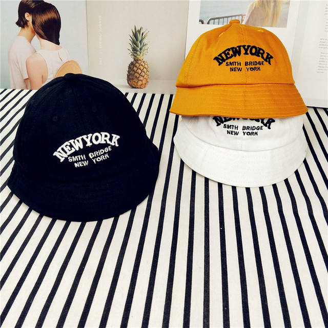 New York Letter Toddler Baby Cap Boys Girls Bucket Hat Summer Fishing Hat  Black White Orange for 1-3 Years Old Kids Sun Hat 3c60e3a42bf