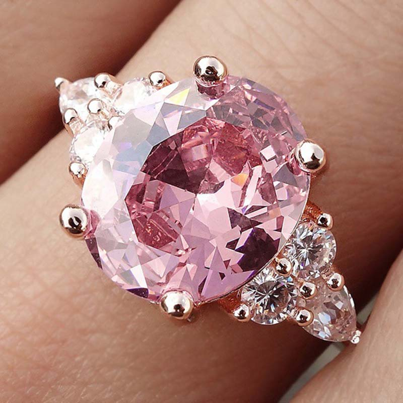 Pink Crystal Cubic Zircon Women Ring Princess Wedding Band Rose Gold Silver Color Female Finger Ring Engagement Party DDR194 in Rings from Jewelry Accessories
