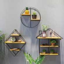 Черный круглый квадратный настенный стеллаж железная перегородка твердая деревянная перегородка для спальни гостиной настенный держатель для подвесного хранения