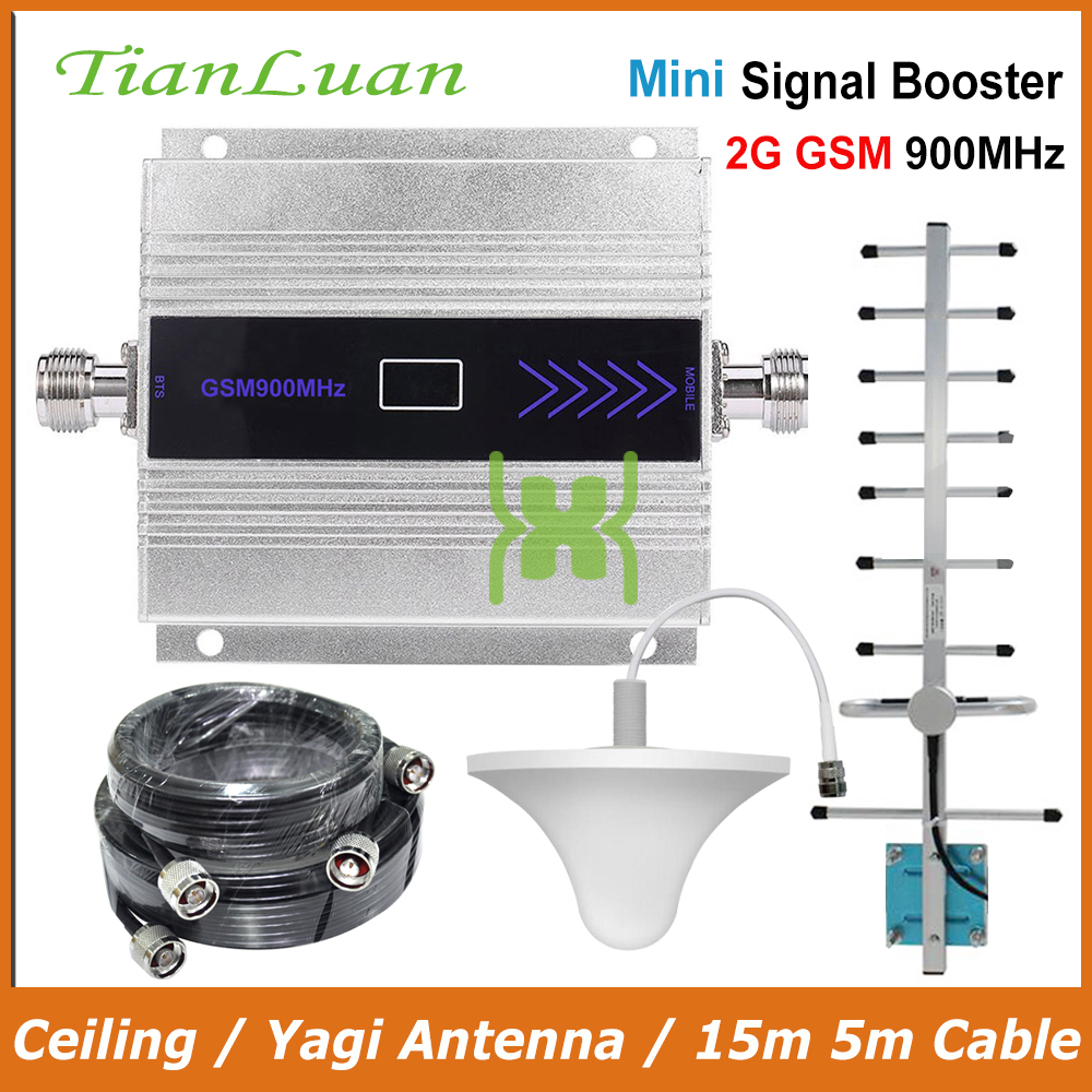 TianLuan Mini GSM 900MHz Mobile Phone Signal Booster 2G GSM Signal Repeater with Yagi Antenna Ceiling