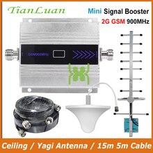 TianLuan Mini GSM 900 MHz telefon komórkowy wzmacniacz sygnału 2G GSM regenerator sygnału z antena Yagi/antena sufitowa/ 15 m kabel 5 m