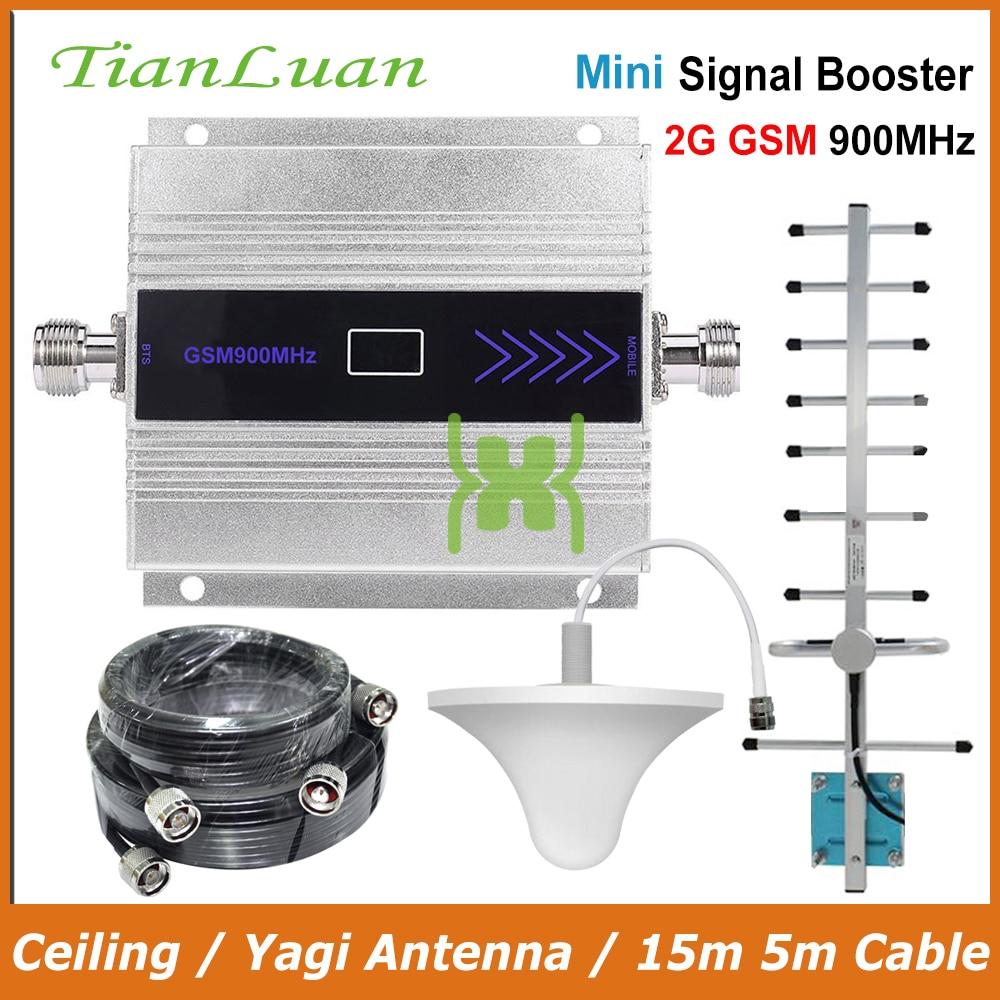 TianLuan Mini GSM 900 mhz Handy Signal Booster 2g GSM Signal Repeater mit Yagi Antenne/Decke Antenne /15 mt 5 mt Kabel