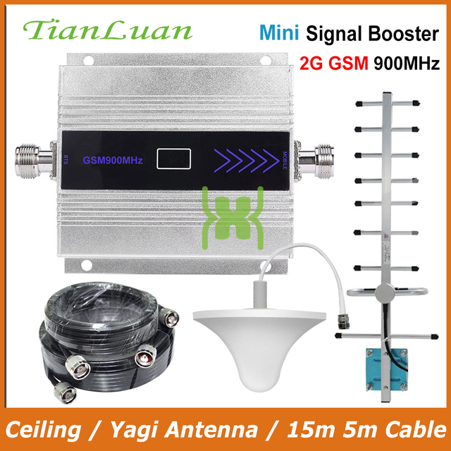 TianLuan Mini GSM 900MHz Mobile Phone Signal Booster 2G GSM Signal Repeater with Yagi Antenna / Ceiling Antenna / 15m 5m Cable