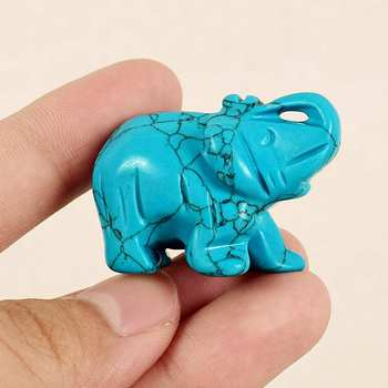 Hand Carved 1.5 Mini Turquoise Elephant Statue Gemstone Animal Figurine Feng Shui Desktop Ornaments Crafts Home Decoration figurine