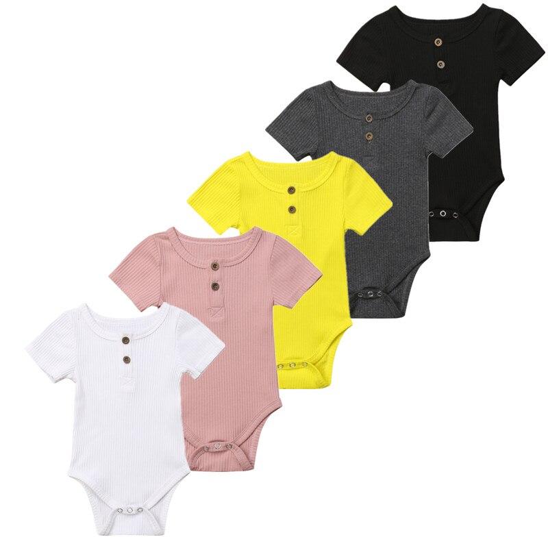 Fettiges Essen Zu Verdauen 5 Farbe Kleinkind Baby Mädchen Kleidung Grund Reine Farbe Outfit Kurzarm Hülse Baumwolle Romper Baby Kleidung 0-24 Mt Um Zu Helfen