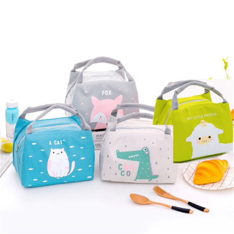 Cute Women Kid Cartoon Portable Insulated Lunch Bag Box Picnic Tote Cooler Animal Waterproof Portable Insulated Lunch Bag Diaper