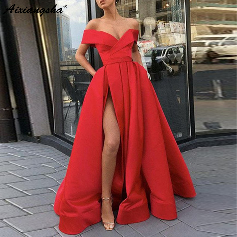 Elegant Off the Shoulder Red Party Gown Satin Sexy Prom Dress Sky Blue High Slit Plus Size Prom Dresses 2019 Long vestido fiesta(China)