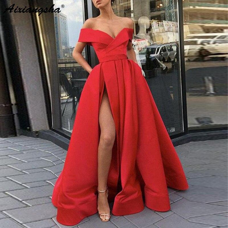 Élégant Outre de L'épaule Rouge Parti Robe Satin Sexy robe de bal Ciel Bleu Haute Fente grande taille robes de bal 2019 Longue robe fiesta