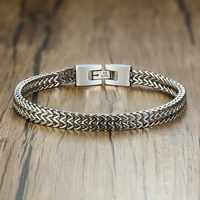"""Double Rope Chain Mens Stainless Steel Bracelet Silver Polish Color Punk Biker Pulseira Masculina Jewelry 8.3"""""""