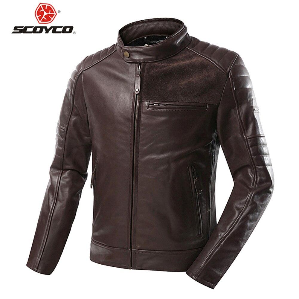 Scoyco cuir de vachette vestes équitation Moto veste Protection homme Vintage vêtements armure de corps cavalier haut style rétro Grade