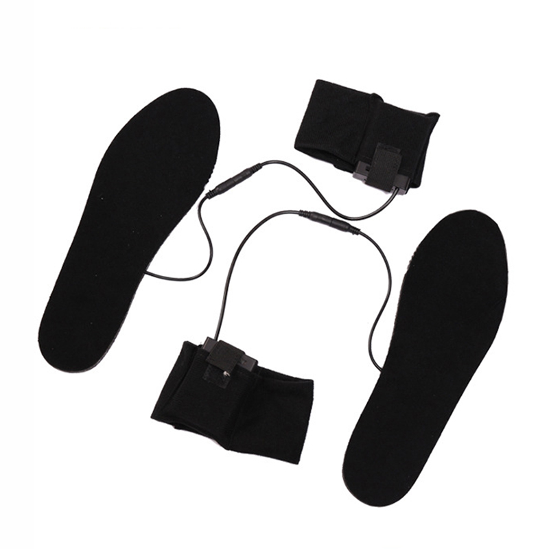Women Men Insoles Heated Plush Fur Electric Powered Carbon Fiber Heating black Walking Heating Insoles 2 Straps & Cases