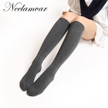 Female autumn winter new long stockings womens fashion Japanese girls college wind  solid knees stocki