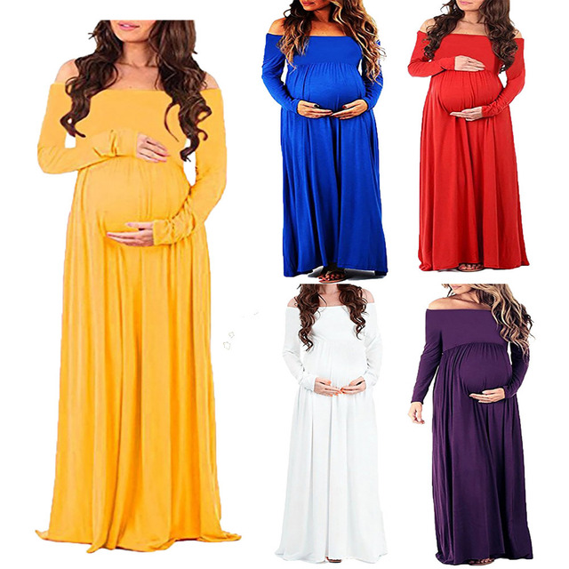 80847bc8fa011 Maternity Clothes Photography Props Pregnancy Dress Off Shoulder Long  sleeve Maternity Dress For Photo Shoot Pregnant Dress