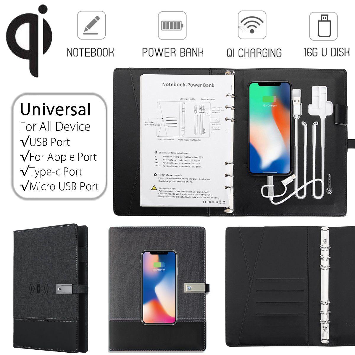 Qi de Carregamento Sem Fio de Multi Funcional Note Book Notebook Banco de Potência 8000 mAh Banco De Potência Binder Spiral Diary Book + USB disco Flash