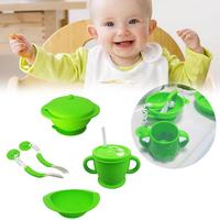4pcs Baby Feeding Cutlery Set Baby Food Supplement Shatter Resistant Training Silicone Spoon Sucker Bowl Water Cup Non Slip