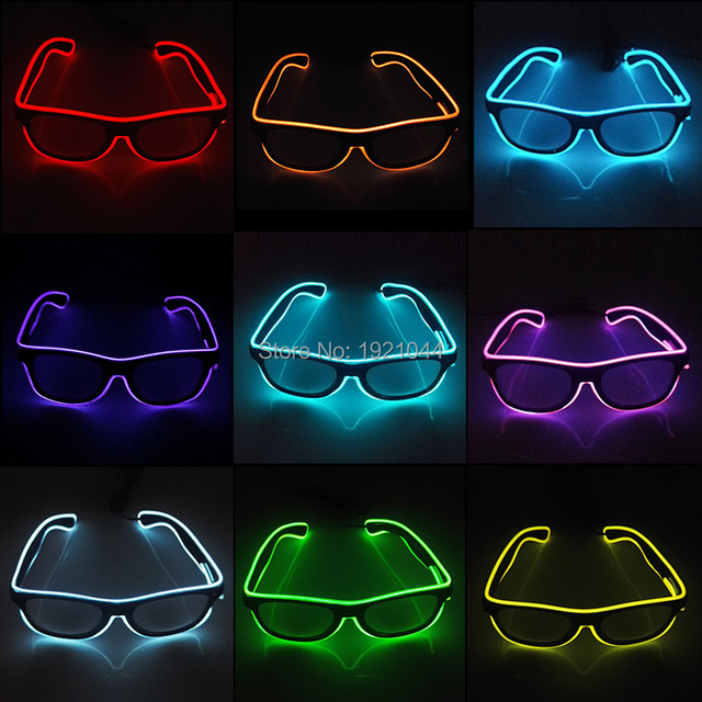 High quality EL Wire Glowing Glasses LED Flashing Sunglasses Holiday Novelty Gift Glow Party Bright Light Supplies