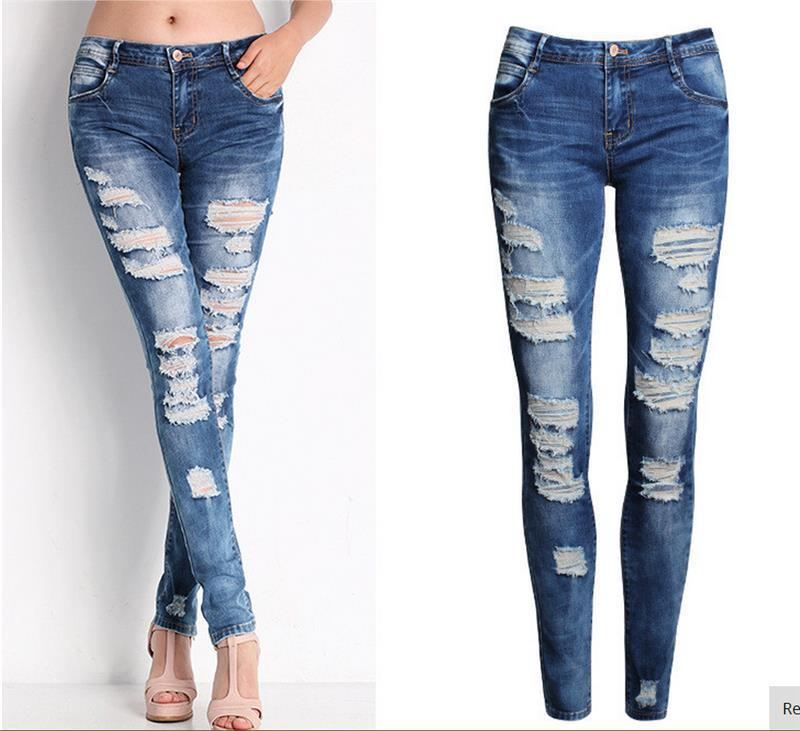 Blue Jeans Pencil Pants Slim Hole Ripped Denim Jeans Casual Stretch Jeans 4