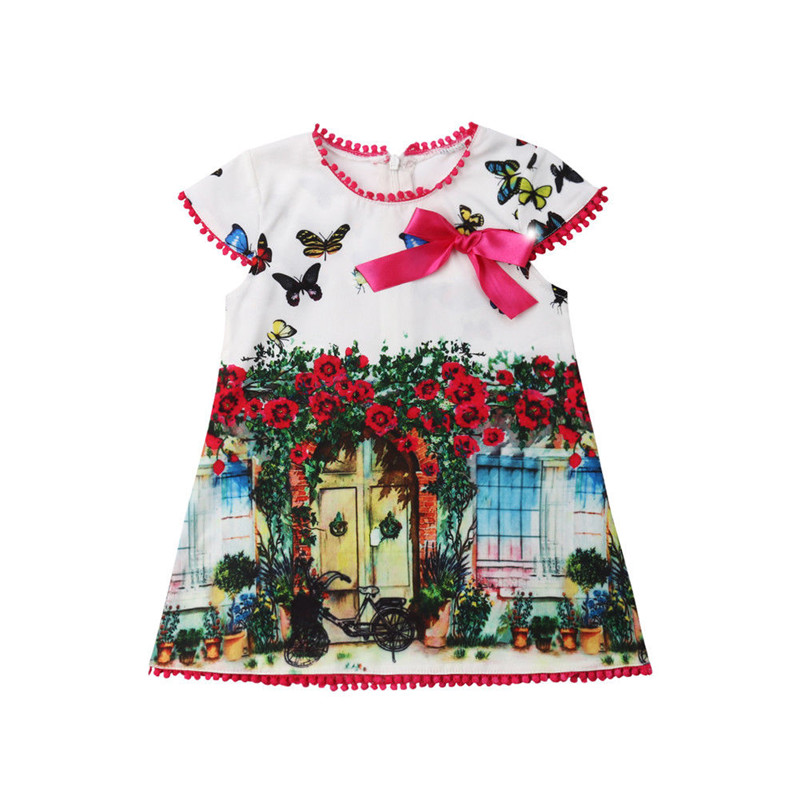 Summer Toddler Kids Girls' Oil Painting Butterfly Casual Dress Sundress Clothes Kids Dresses For Girls O-neck Short Sleeve