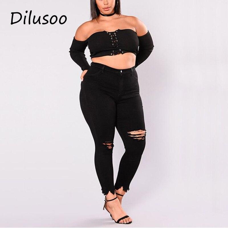 Dilusoo Women Holes Plus Size   Jeans   Pants Skinny Elastic Pencil Pants Mid Waist Black   Jeans   Woman Casual Spring 2-7XL Trousers