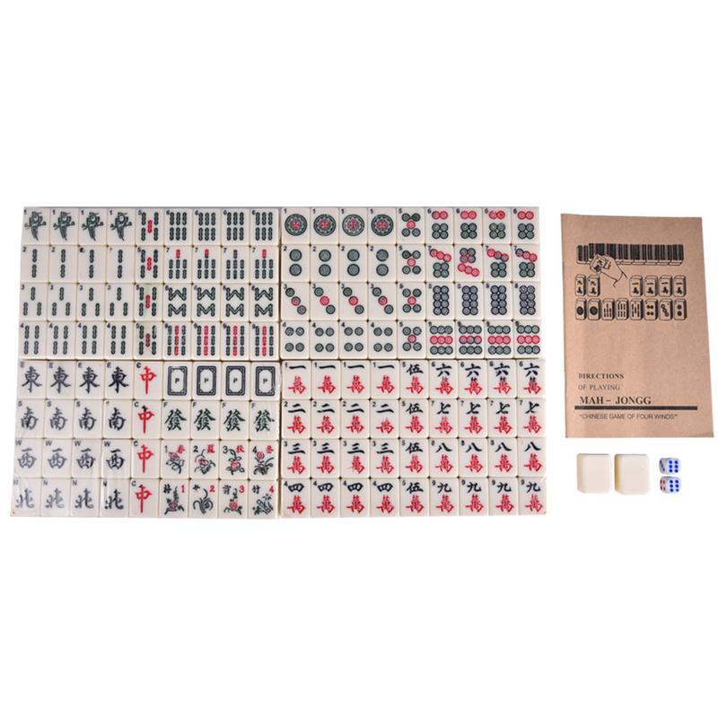 Jeu de Mahjong anglais rouge avec boîte en cuir rétro voyage Portable Mahjong jeux de société 28 CM/11.02in