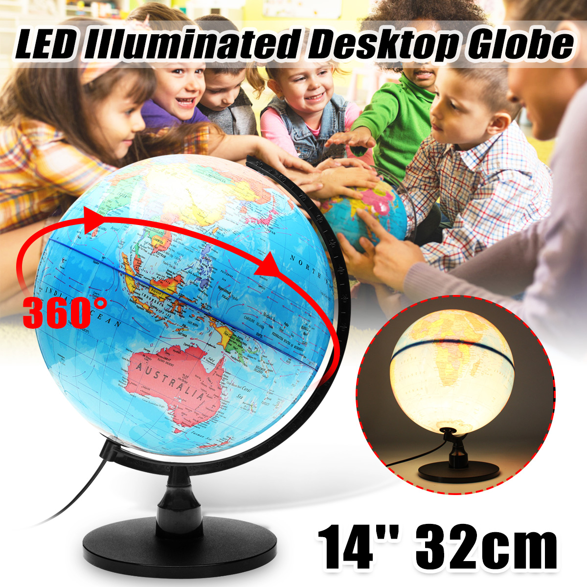 32cm World Earth Globe Map Geography Educational Toys 110V LED Illuminated Tellurion Light Home Office Decor Miniatures