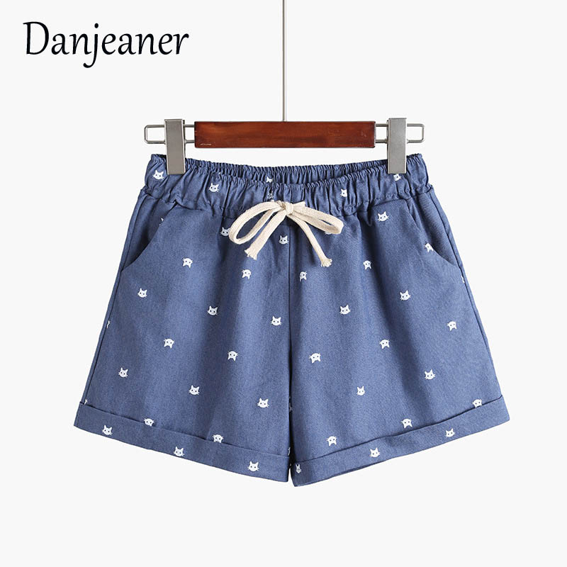 Danjeaner 8 Colors Summer Casual Cotton Shorts Women High Waist Drawstring  Fashion Printed Cat Head Loose Outwear Shorts Mujer