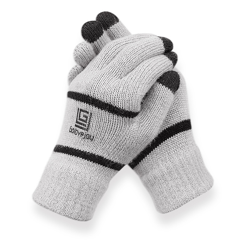 Velvet-Gloves Business Mittens Touch-Screen Wool Warm Autumn Winter Men's Plus Solid