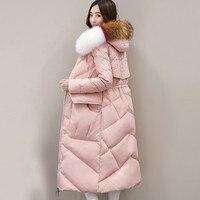 2018 Winter Women Long Down Jacket Coat Top Level Duck Down Keep Warm Female Overcoat Plus Size Hooded Fur Collar Jackets PJ341