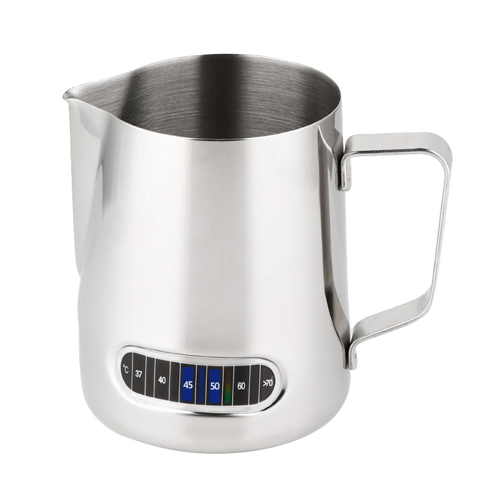 Best Milk Frothing Pitcher With Thermometer Stainless Steel 600ml Coffee Frothing Jug Home Kitchen Milk Cup