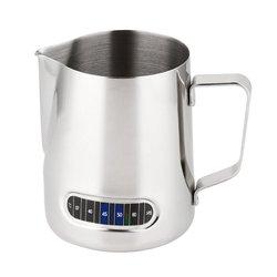 Melhor jarro de espuma de leite com termômetro de aço inoxidável 600ml copo de leite de espuma de café casa cozinha