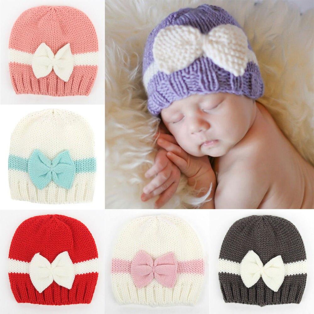 Infant Toddler Baby Bow Knot Knitted Crochet   Skullies     Beanies   Girls Winter Warm   Beanies   Caps