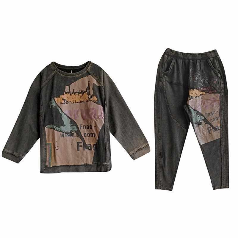 Max LuLu 2019 Spring Fashion Korea Baju Wanita Atasan dan Celana Wanita Punk Dua Set Pakaian Pakaian Wanita Pakaian Olahraga