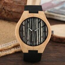 Black Wood Watch Leather Strap Quartz Wood