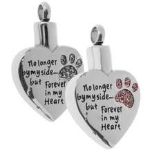 Forever in my  Heart Animal Claw Crystal Stainless Steel Urn Ash Pendant Memorial Cremation