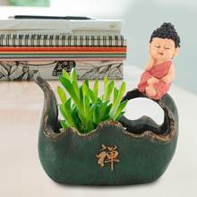 Hot Sale Plant Mini Modern Zen Meaning Cactus Succulent Plant Pots Small Resin Containers Garden Flower Pots(China)