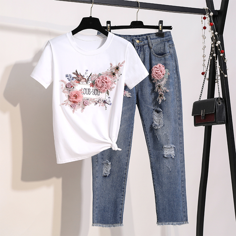 2019 Runway Designer Summer Women 2 Pieces Set Jean Suits 3D Floral Embroidery Diamonds Cotton Tshirt Top + Hole Jeans Pants Set