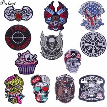 Pulaqi New Skull Badge Patch Applique Embroidery Biker Patches Sew On Clothes Iron-on For Backpacks Jeans Punk DIY H