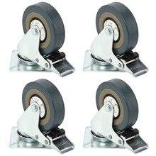 Hot Sale Heavy Duty Furniture Caster Rubber Swivel Castor Wheel Trolley Caster Brake 30KG Model:4 with brake 50x17mm