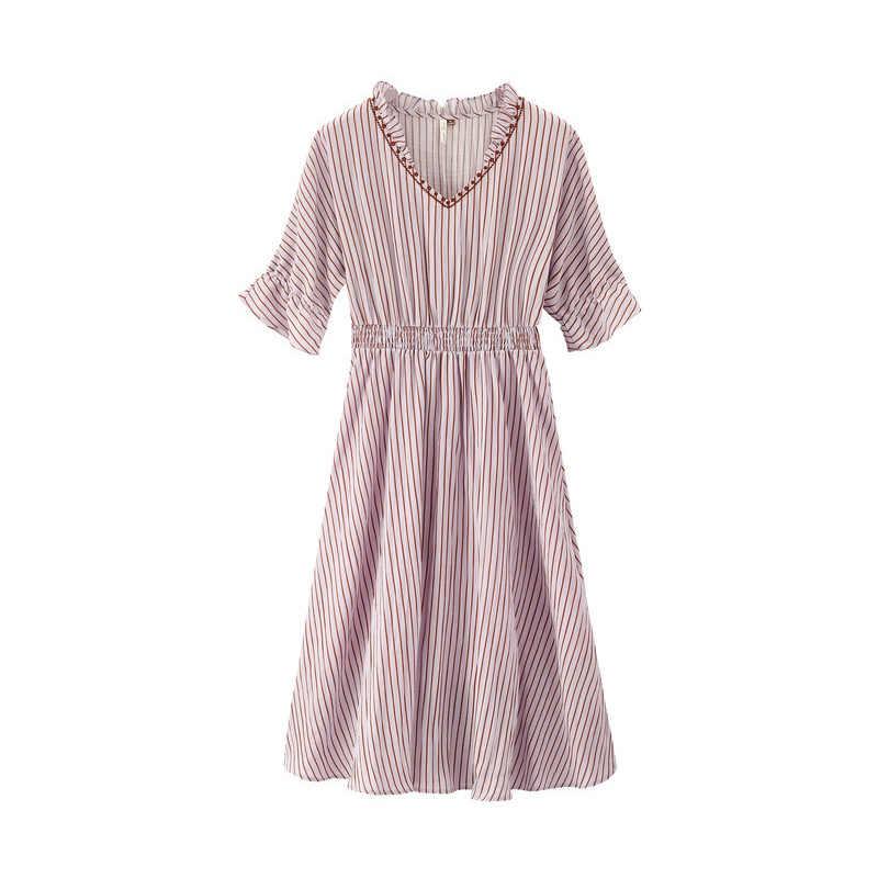 インマン夏レース v ネックかわいいフレア袖五分袖定義ウエストストライプ文学女性ドレス