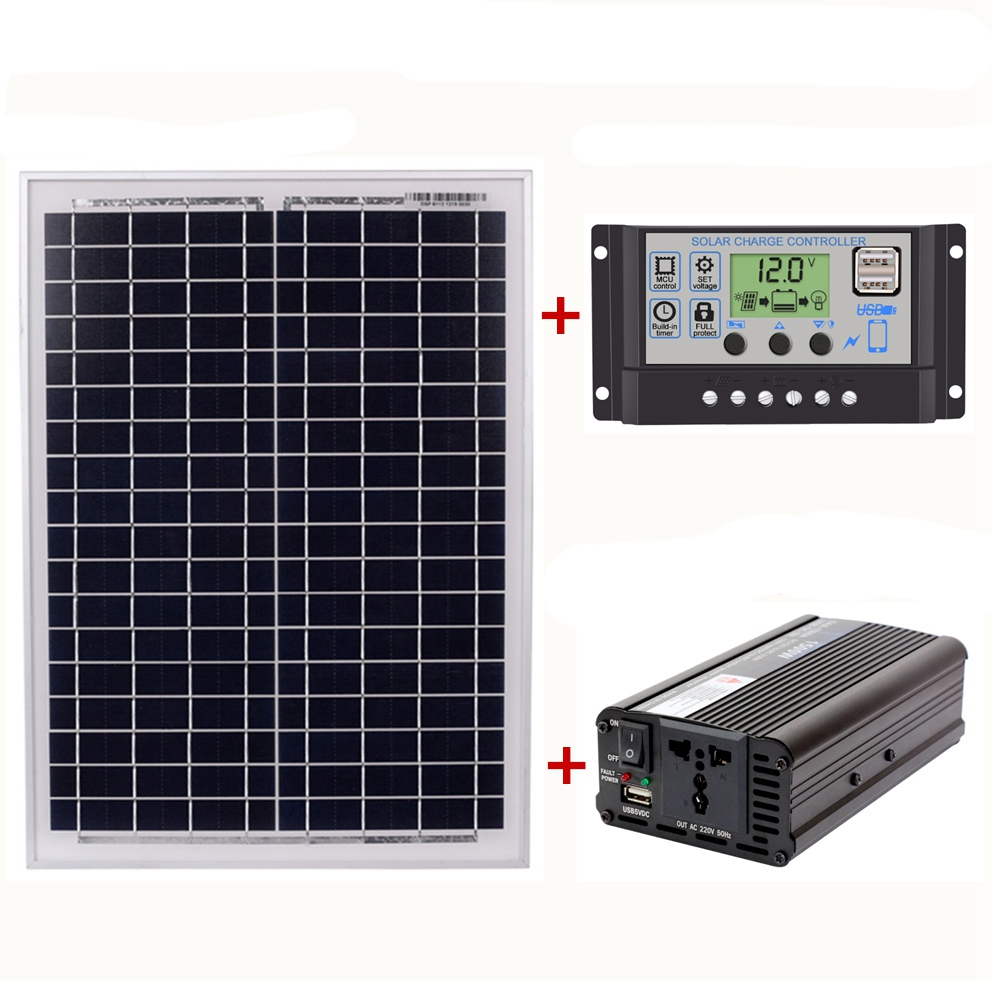18V20W Solar Panel +12V / 24V Controller + 1500W Inverter Ac220V Kit, Suitable For Outdoor And Home Ac220V Solar Energy-Saving