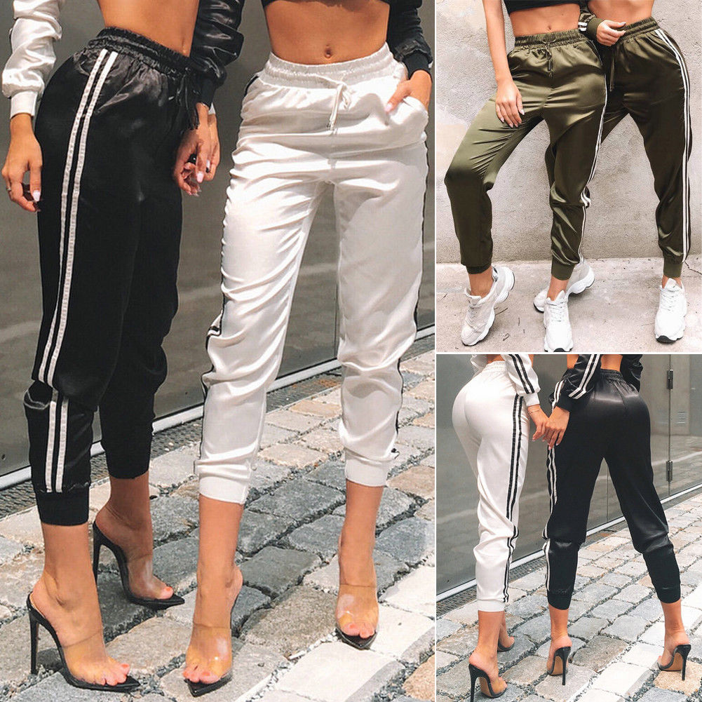 Hirigin Brand Jogger Long Pants 2019 New Womens Fitness Leggings Sport High Waist Side Striped Jogging Pants Trousers Streetpant