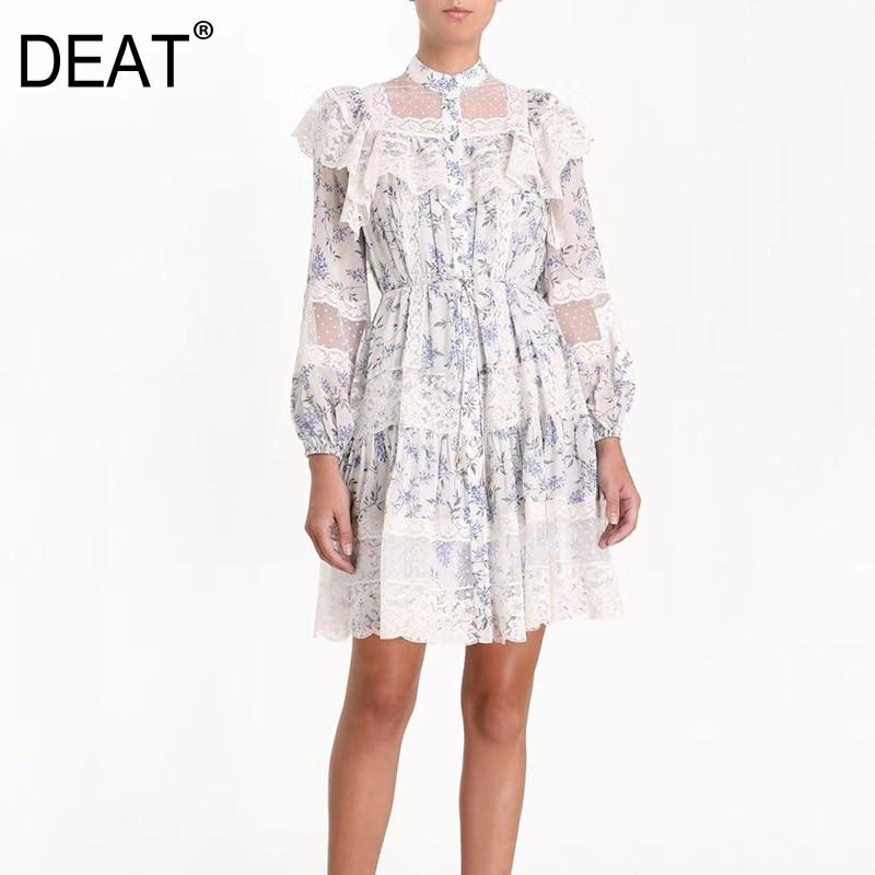 DEAT 2019 new summer women dresses round neck lantern sleeves ruffles lace chiffon printed knee length