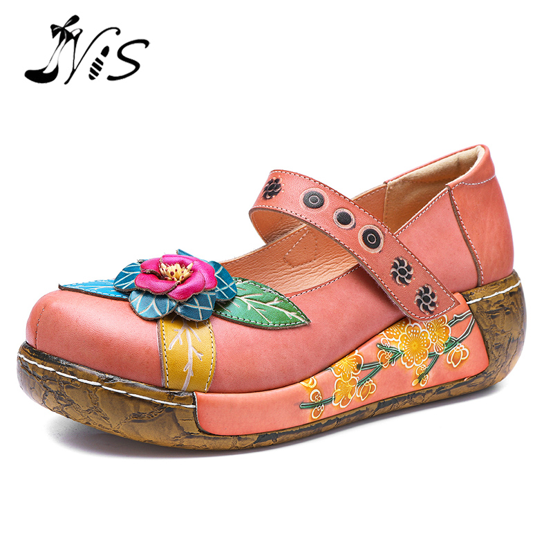 NIS Printed Genuine Leather Flats Women Flat Shoes Woman Spring Retro socofy Bohemian Vintage Style Flower