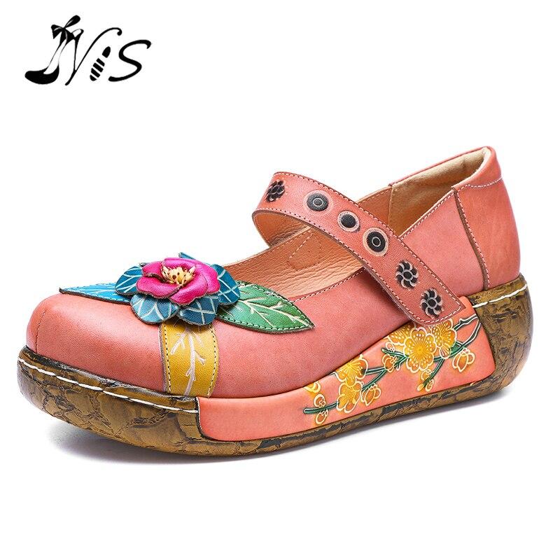 NIS imprimé en cuir véritable appartements femmes chaussures plates femme printemps rétro socofy bohème Style Vintage fleur plate-forme chaussures décontractées
